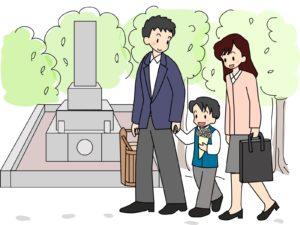 お墓参りに行く家族