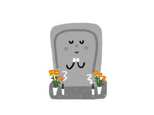 表情のあるお墓のイラスト