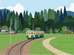 田舎の風景 山の中を走る電車